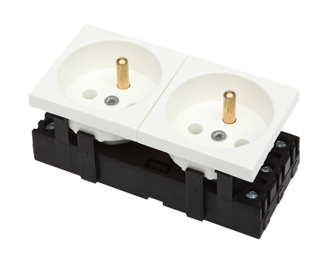 Bkt 2-port Electrical Socket - White