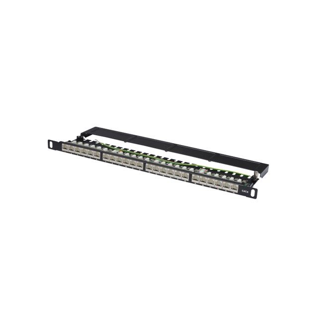 DIGITUS Patchpanel CAT6 Shielded 24-port With Shutter - Black