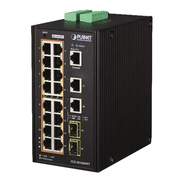PLANET Industrial 16-Port 10/100/1000T PoE 2-Port Gigabit Uplink + 2-Port Gigabit SFP Uplink managed
