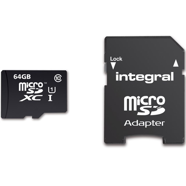 Integral Microsdhc/xc Card Class 10 With Adaptor 64GB